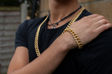 12mm Set Gold Iced Out Bracelet + Chain - Gold plated uk