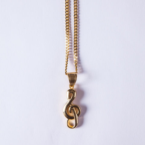 Music Note Gold Pendant - Gold plated uk