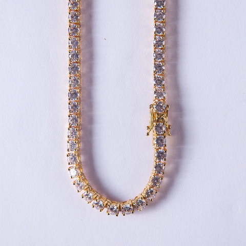 5mm Tennis Chain Gold With Lab Diamonds - Gold plated uk