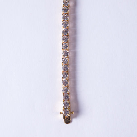 5mm Gold Tennis Lab Diamond Bracelet - Gold plated uk