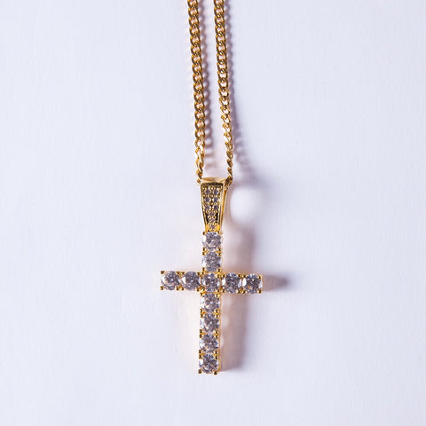 Gold Cross Pendant Lab Diamond - Gold plated uk