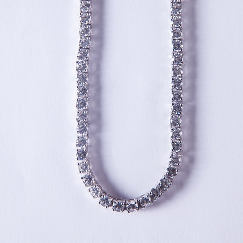 5mm Silver Tennis Chain with Lab Diamonds - Gold plated uk