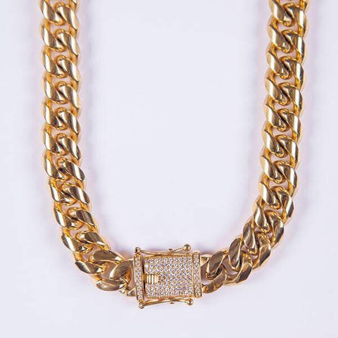 15mm Gold Miami Cuban Link Chain - Gold plated uk