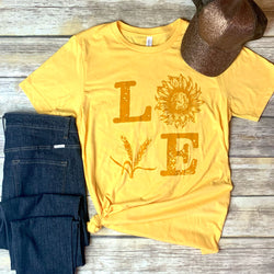 LOVE-Wheat and Sunflower in gold