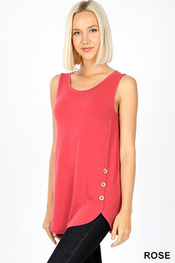 Tank with Button Detail-Rose