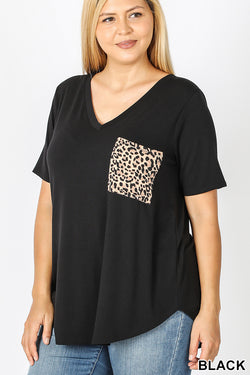 Leopard Pocket Tee Curvy Black