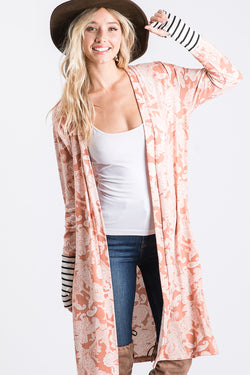Paisley Cardigan with Striped Sleeves