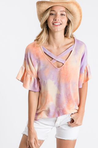 Criss Cross Tie Dye Top