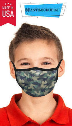 Kids Mask Camo dinosaurs green