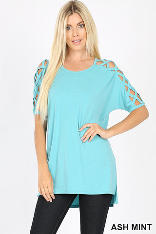 Lattice Sleeve Top Mint