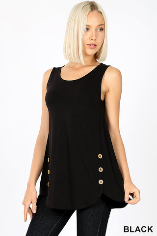 Tank with Button Detail-Black