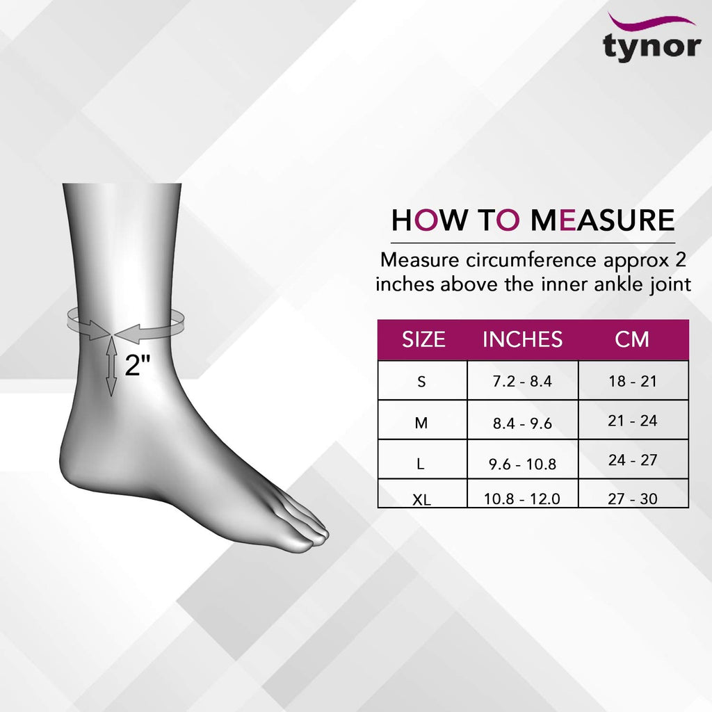 Tynor Ankle Size Chart