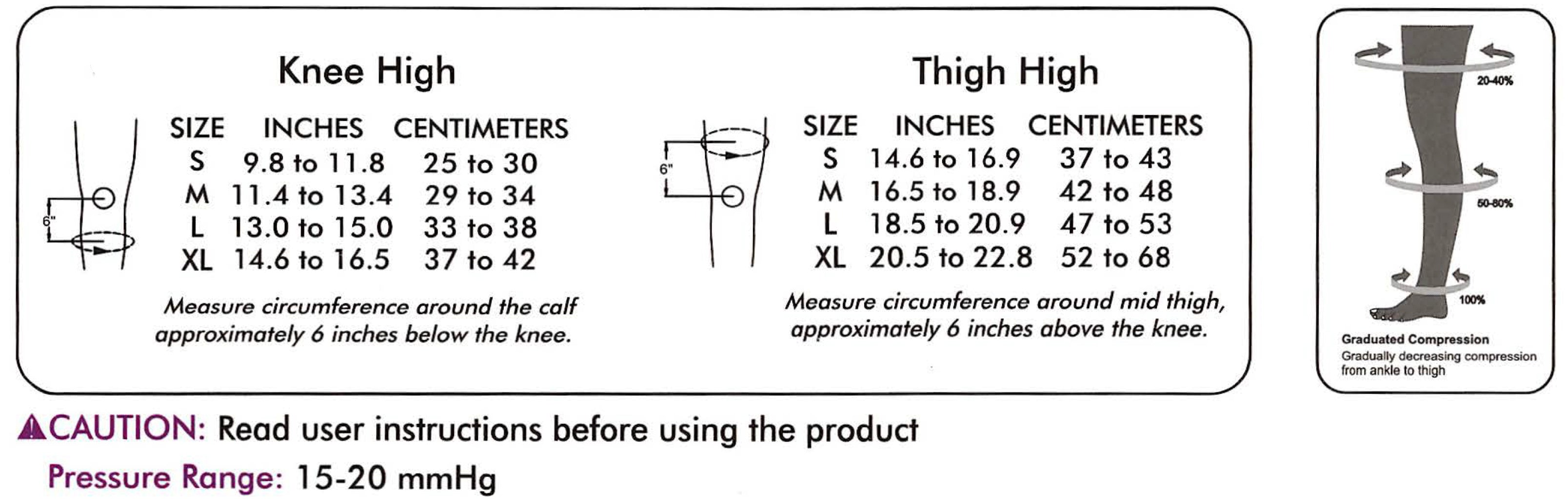 Anti Embolism Compression Stockings (D.V.T. Prophylaxis) Class 1 (Pair) Size chart