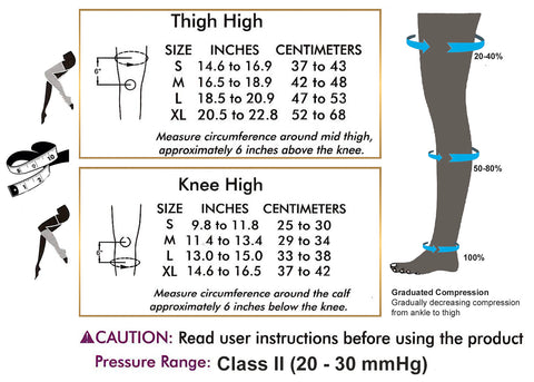 Tynor Australia Graduated or Medical Compression Stockings Class 2-Knee.Hi(Pair)   OEKOTEX certified Varicose veins Spider Veins Lipodermatosclerosis Pregnancy knee high-Thigh high Unisex