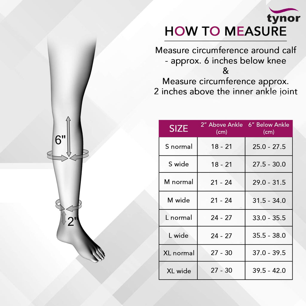 TYNOR Graduated20-30 mmHg Compression Stocking for Men and Women, Knee High Length, Open Toe, Beige, Physio supports Australia