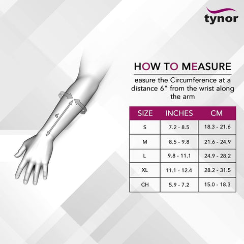 tynor-tynor-left-wrist-and-forearm-splint Size chart