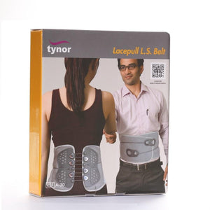 Tynor Australia Lace Pull L.S. Belt. (Lumbar Brace) Low back muscle strain, Post-operative stabilization, Spondylolisthesis, Spondylolysis, muscular sprains and strains Syndrome, spinal fractures, herniated discs Ligamentous and degenerative disorders of the lumbar spine (Osteoarthritis)