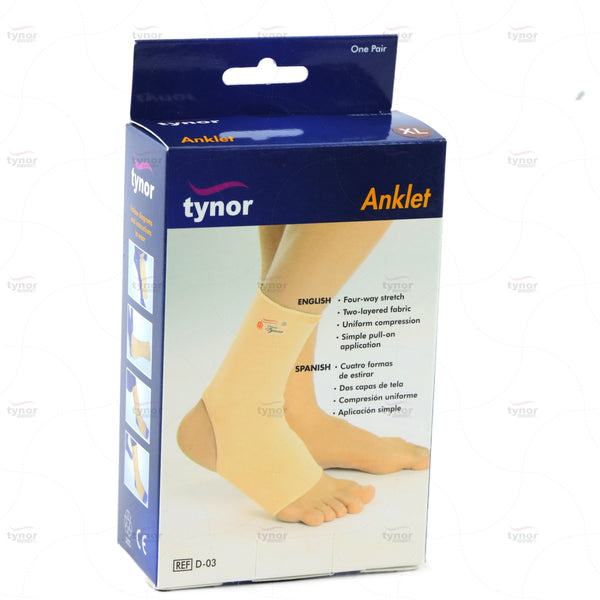 Tynor Australia Ankle Brace Compression Support Sleeve (Pair) for Injury Recovery, Joint Pain and More. Plantar Fasciitis Foot Socks