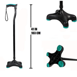 Walking Stick Quadra (Soft Top Handle / Moulded Base)