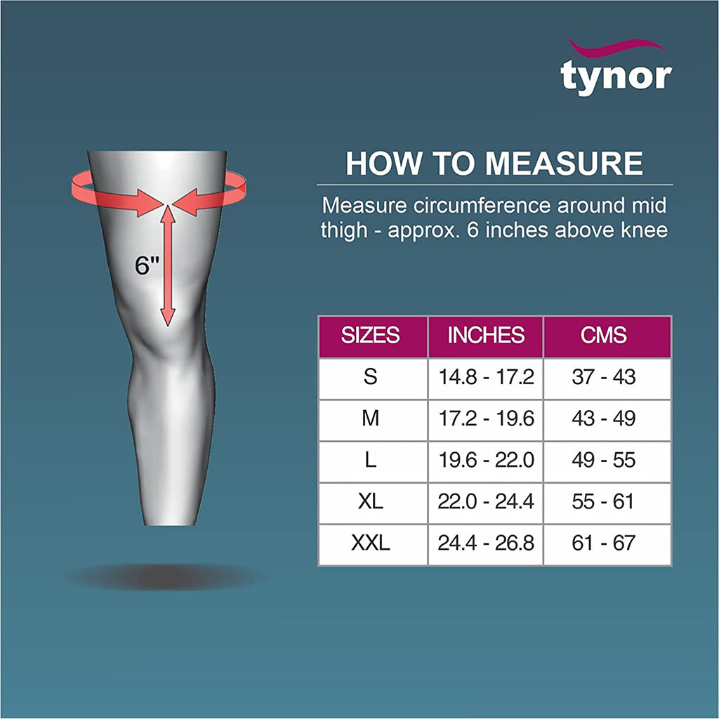 Tynor Comfortable Knee Immobilizer size chart
