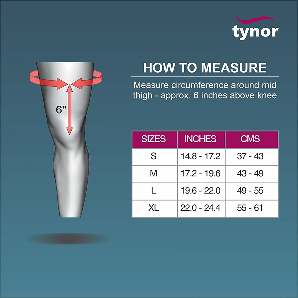 Thigh/Hamstring Support size chart tynor