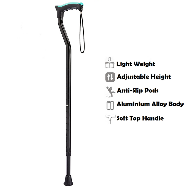 Tynor Australia Lightweight Walking Stick (Soft Top Handle)-Adjustable Height Cane With Wrist Strap - Latex Free Soft Grip Comfort
