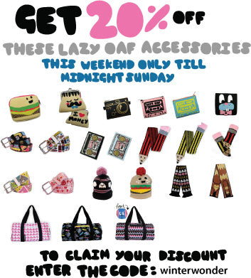 Get 20 percent off Lazy Oaf Accessories!