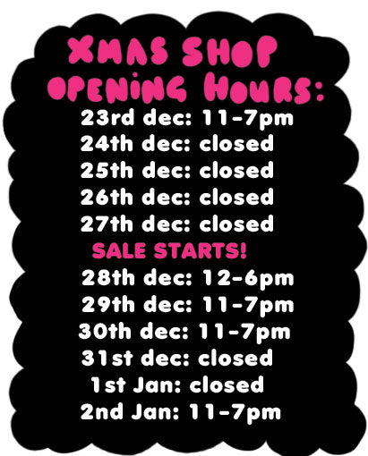 Shop times over the festive weeks!