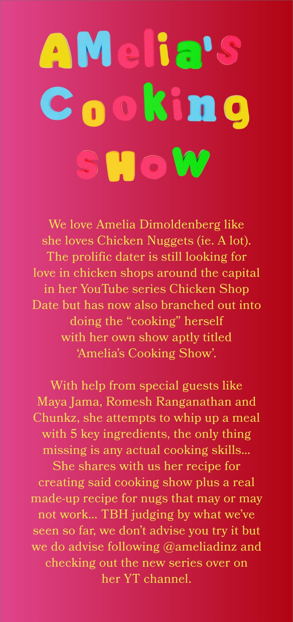 Amelia's cooking show