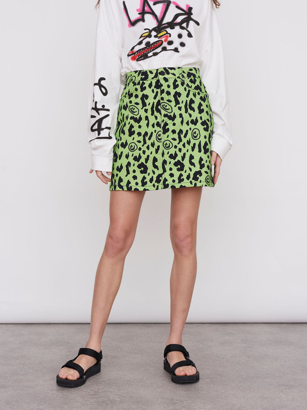 Lazy Oaf Squish Face Leopard Skirt