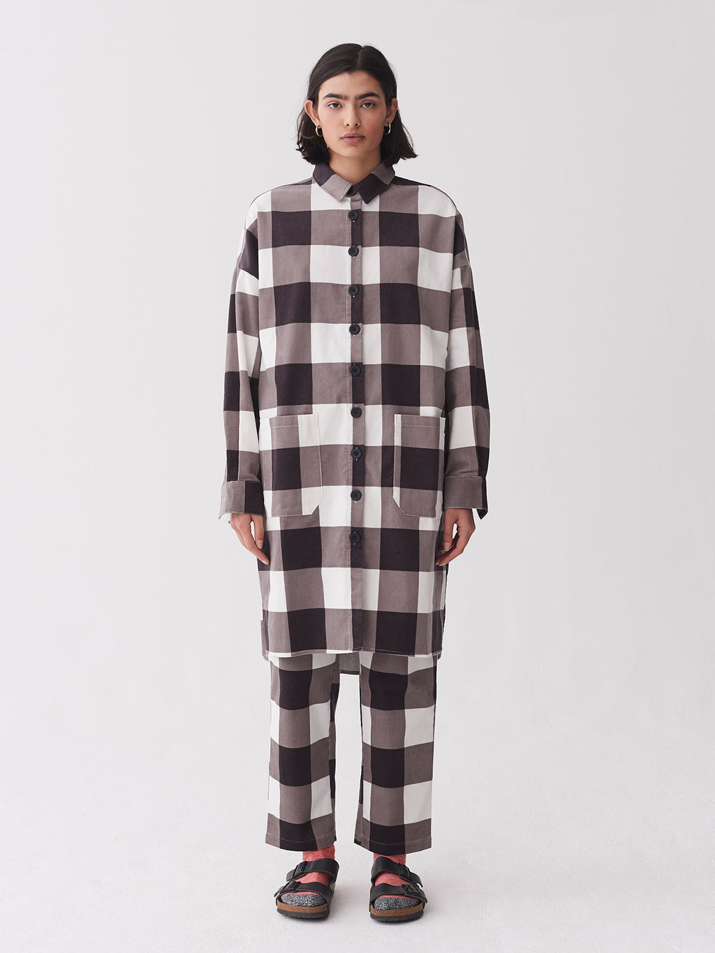 Lazy Oaf Allotment Check Cord Dress