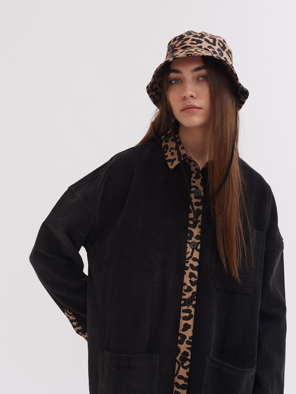 Lazy Oaf Big Cat Cord Shirt Dress