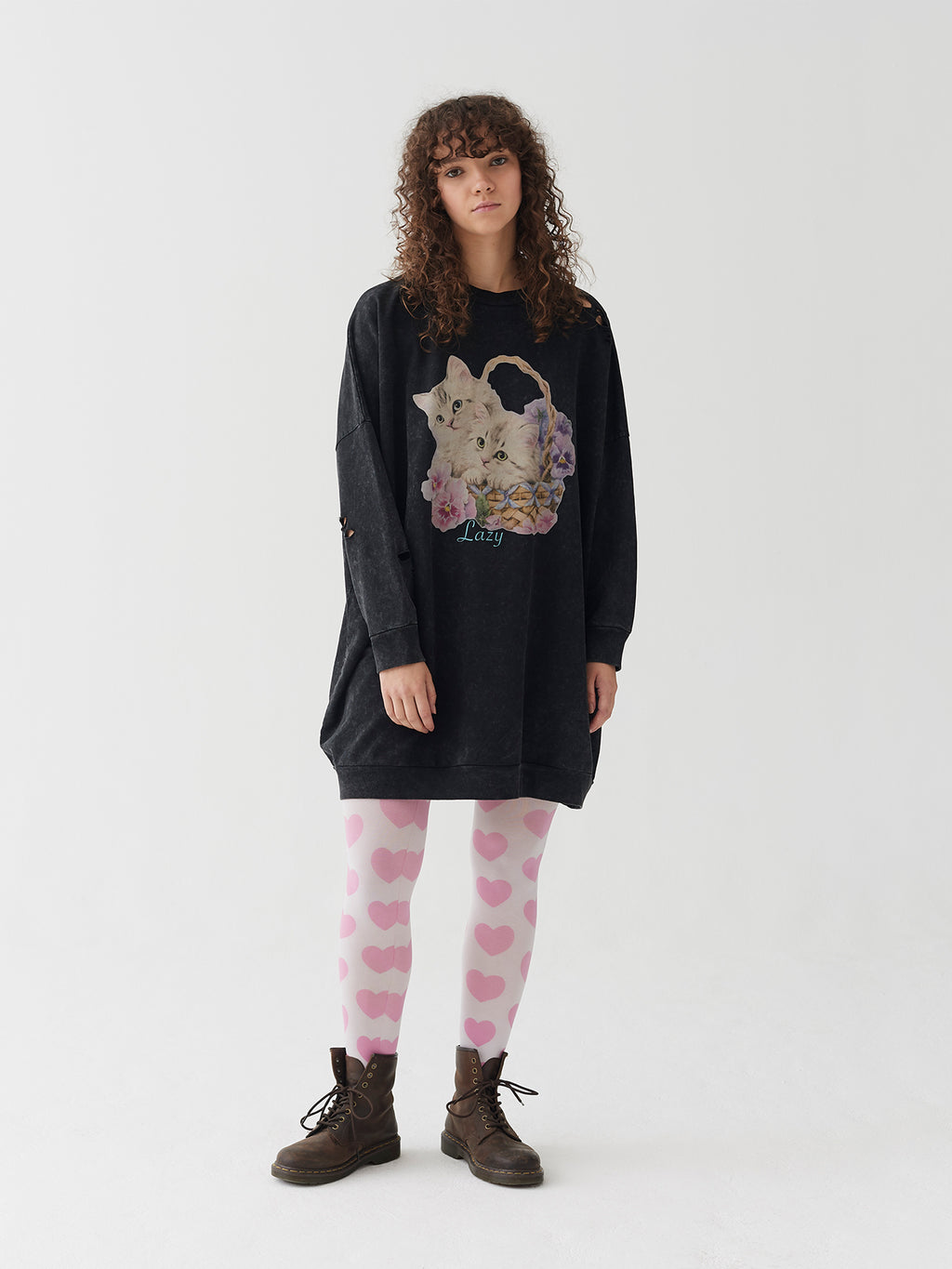 Lazy Oaf Basket O' Cats Sweater Dress