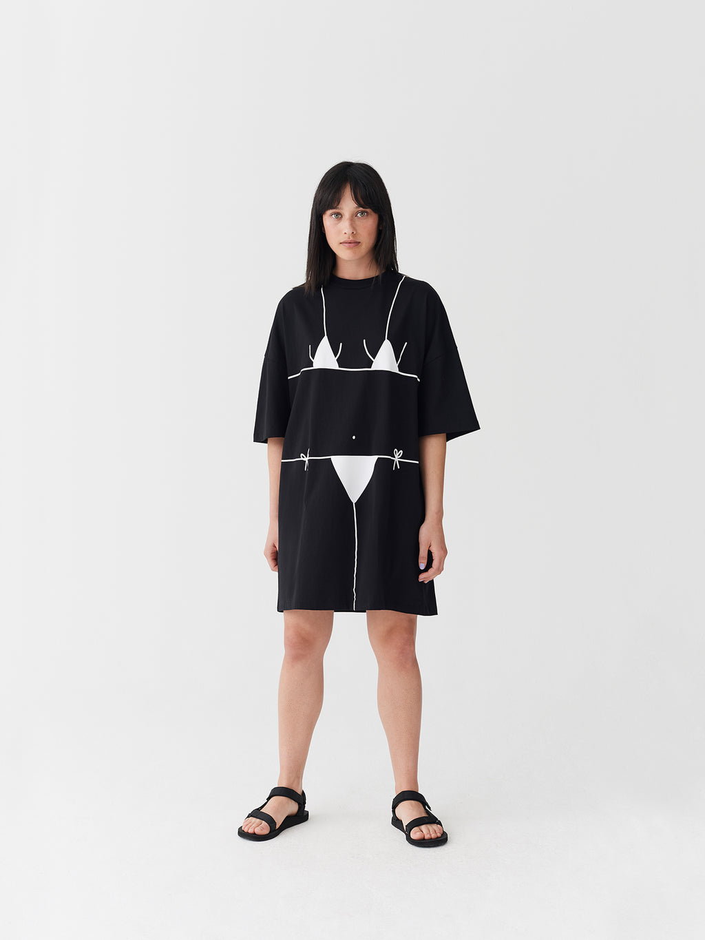 Lazy Oaf Beach Bum Black T-Shirt Dress