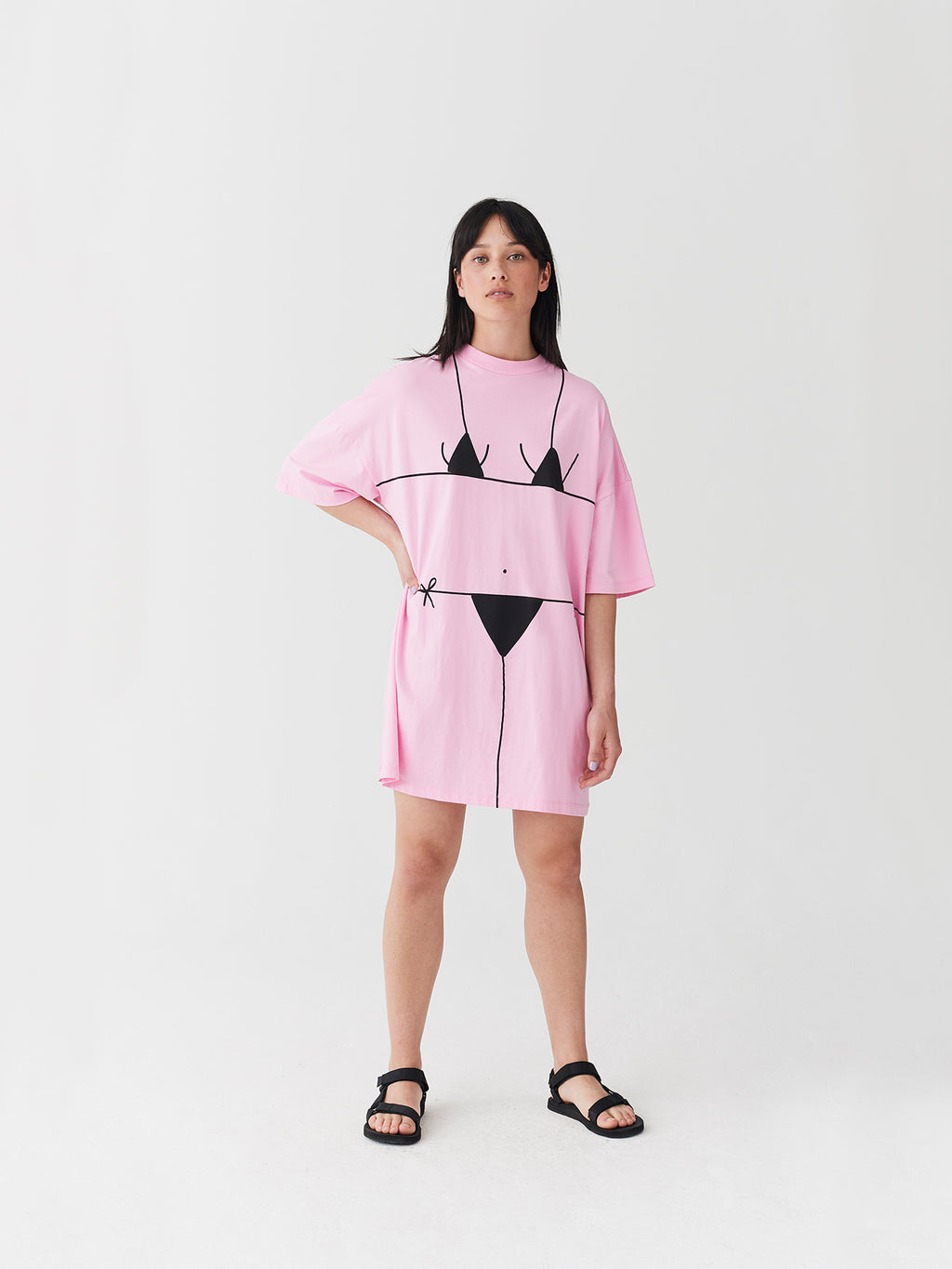 Lazy Oaf Beach Bum Pink T-Shirt Dress