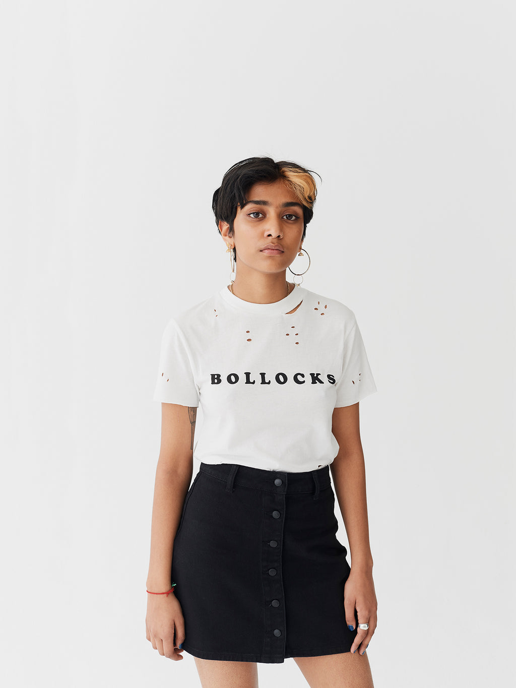 Lazy Oaf Bollocks White Fitted T-Shirt