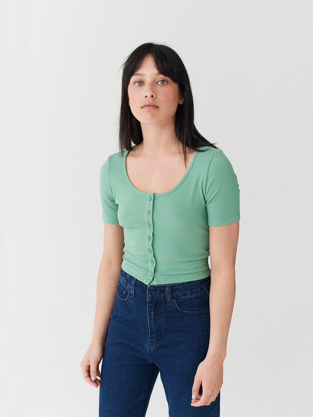 Lazy Oaf Button Through Heart Top