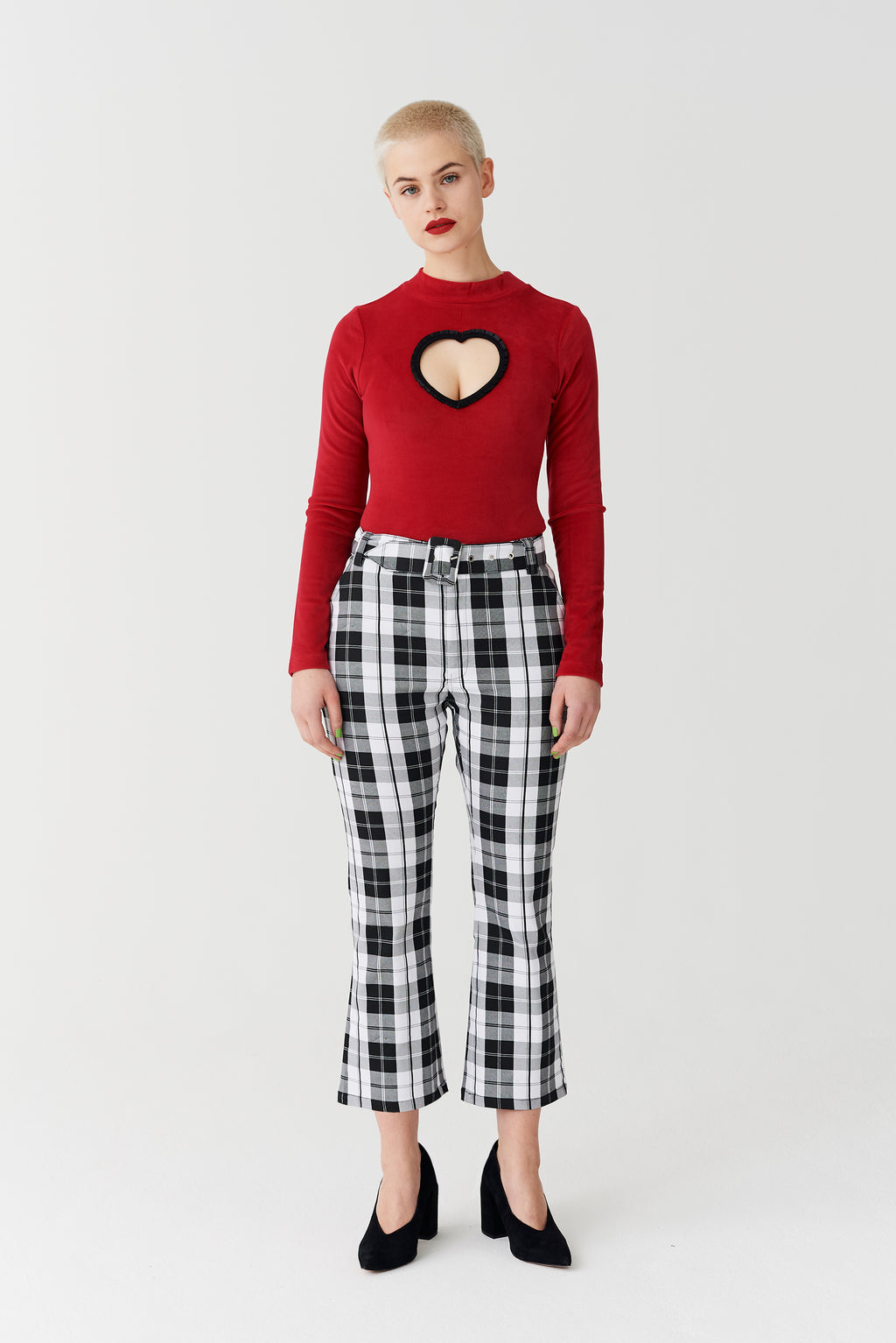 Lazy Oaf Black & White Check Kick Flare Trousers
