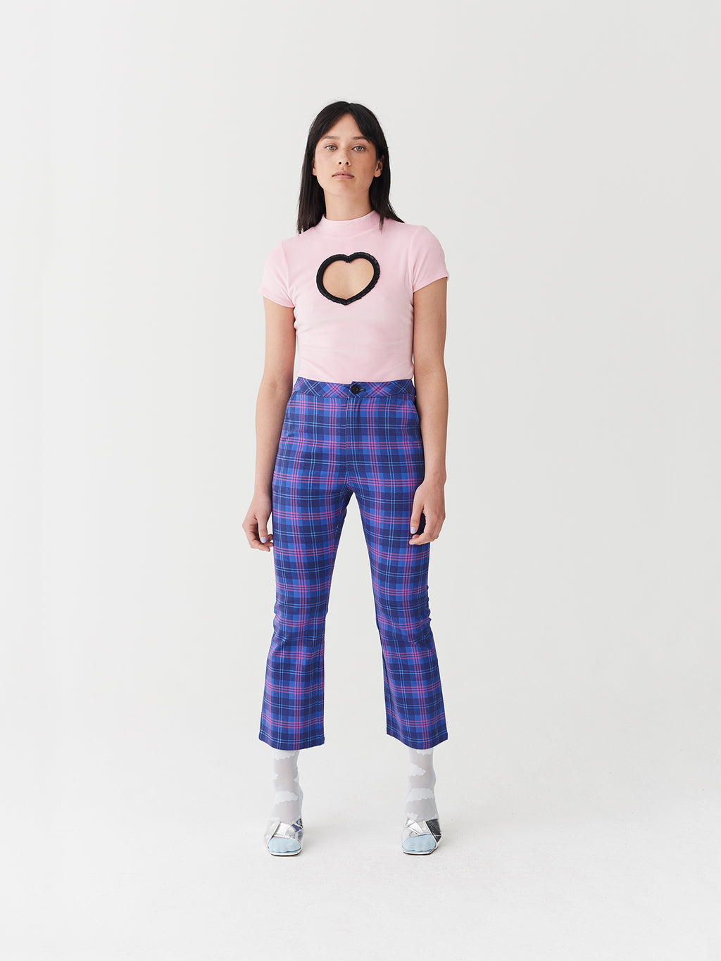 Lazy Oaf Check Me Out Kick Flare Trousers