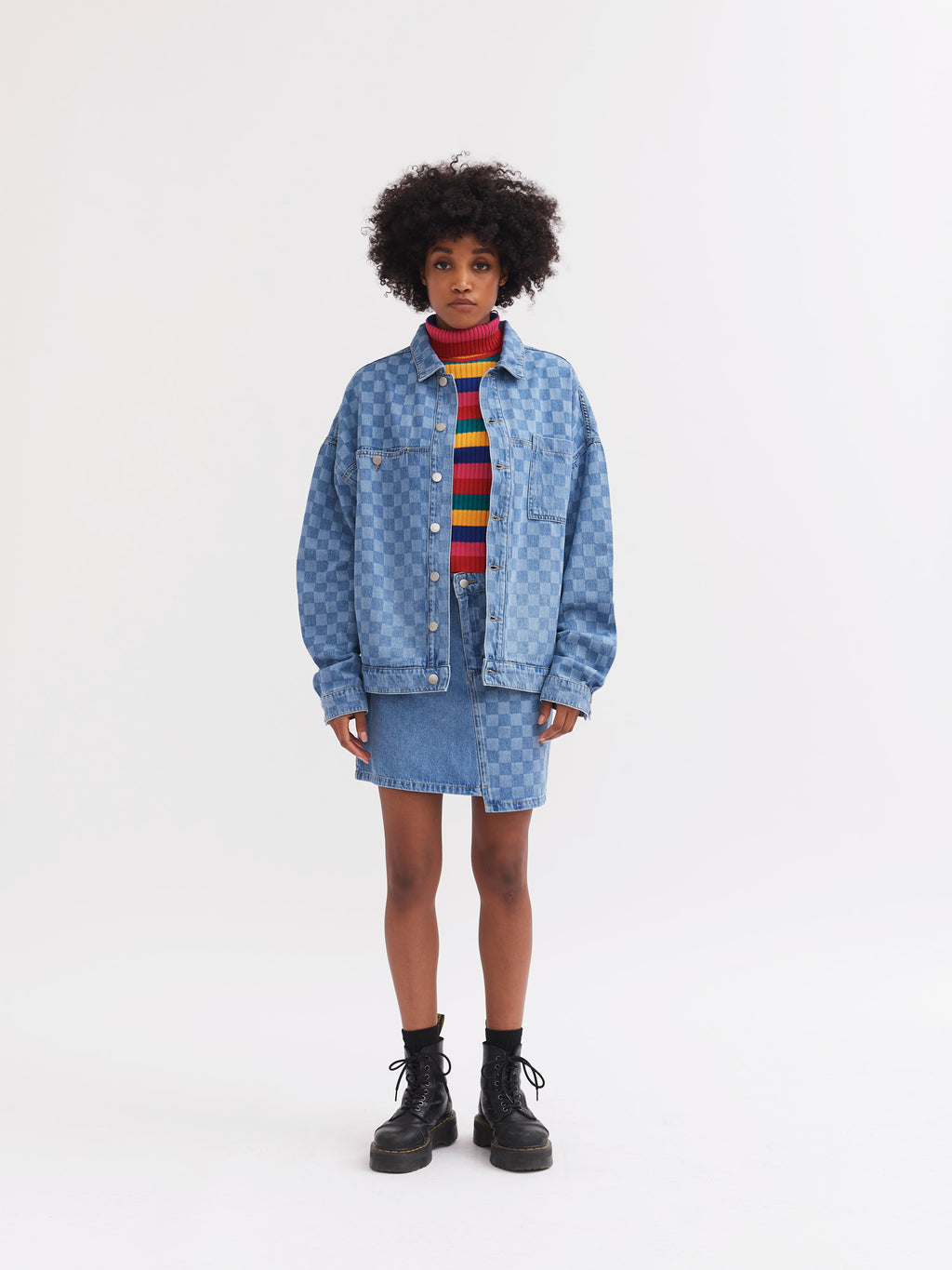 Lazy Oaf Checked Denim Work Jacket