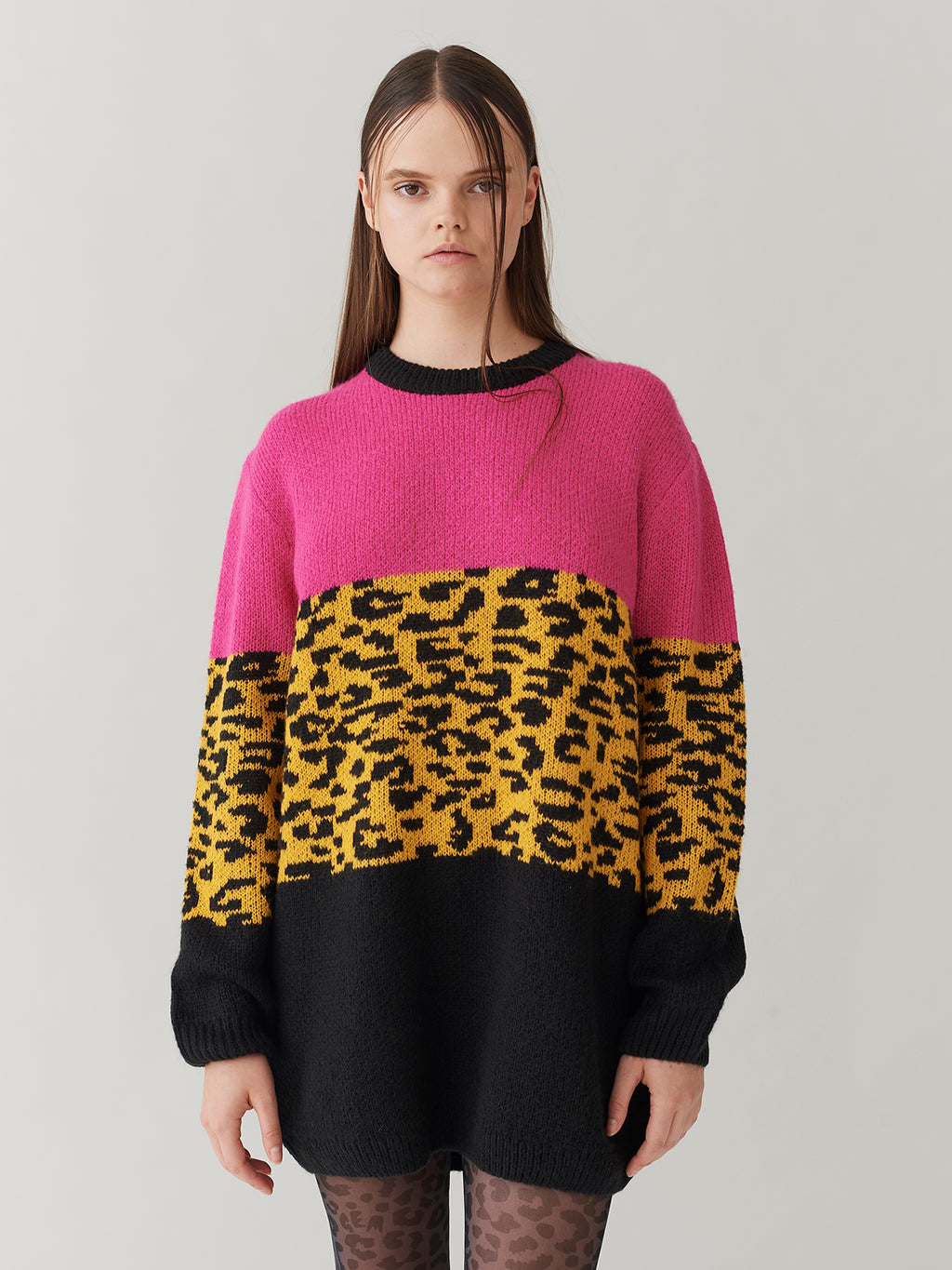 G.E.M. Colour Block Leopard Jumper