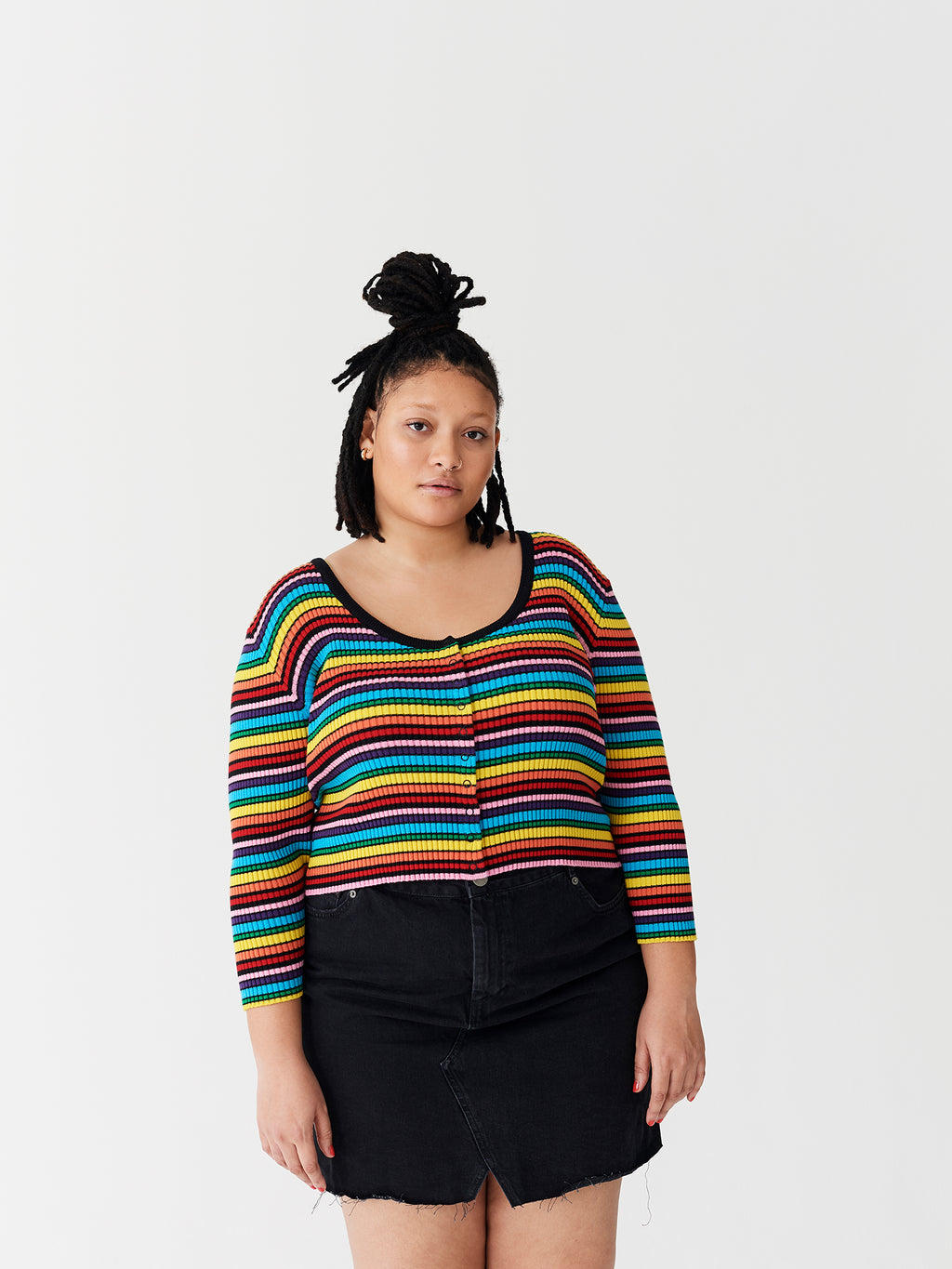 Lazy Oaf Rainbow Rib Scoop Neck Top