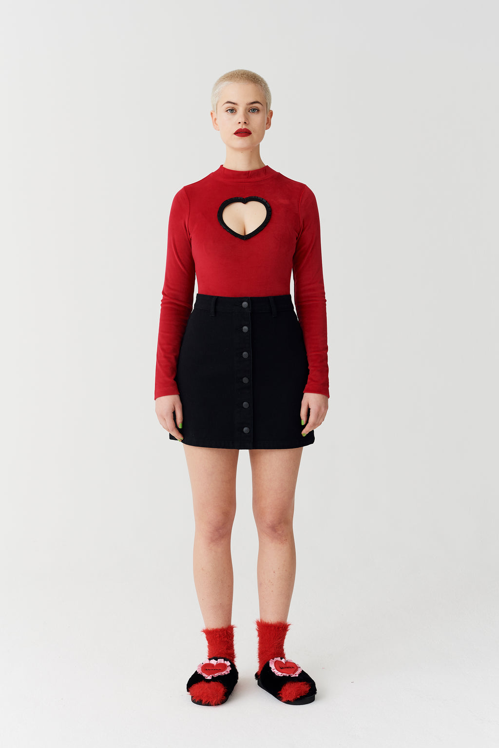 Lazy Oaf Heart Cut Out Velvet Body