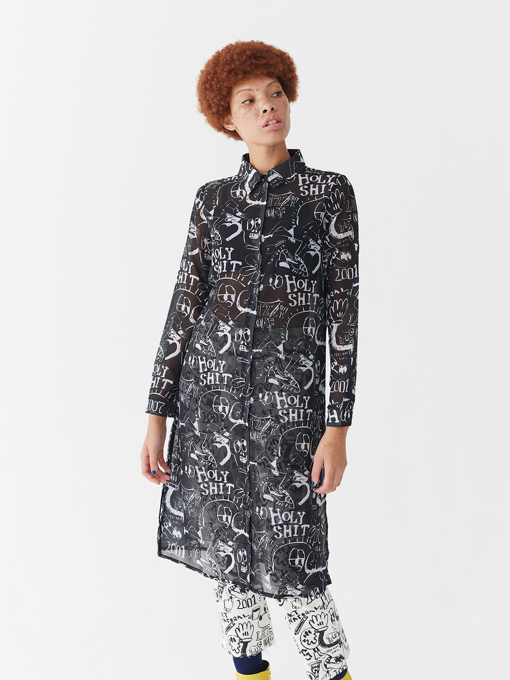 Lazy Oaf Drawn Out Sheer Shirt Dress