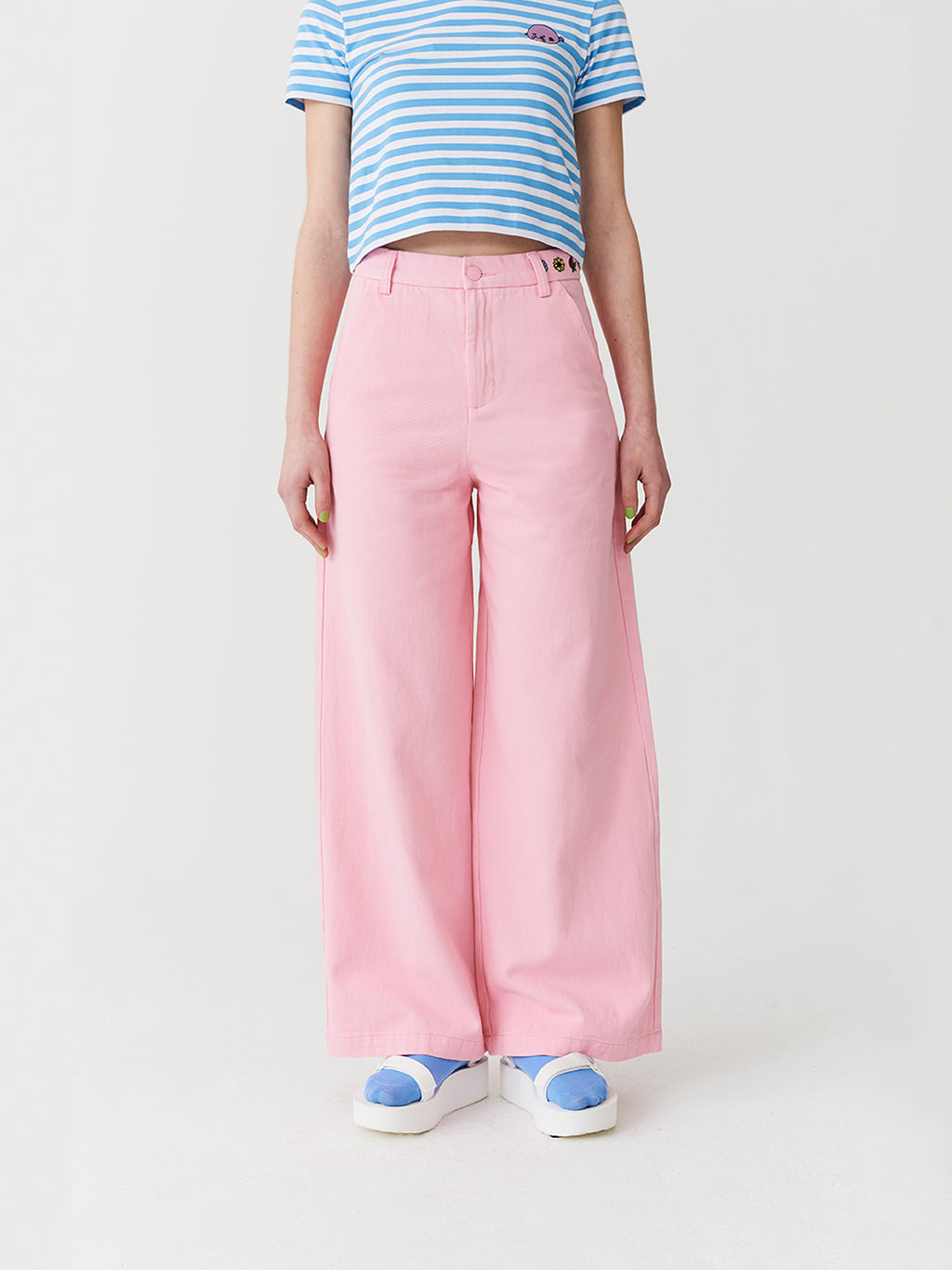 97231c57fe Lazy Oaf Flower Power Wide Leg Trousers