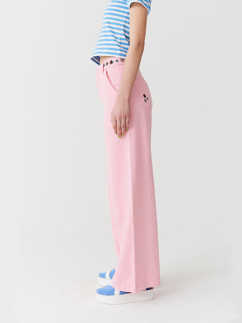 Lazy Oaf Flower Power Wide Leg Trousers
