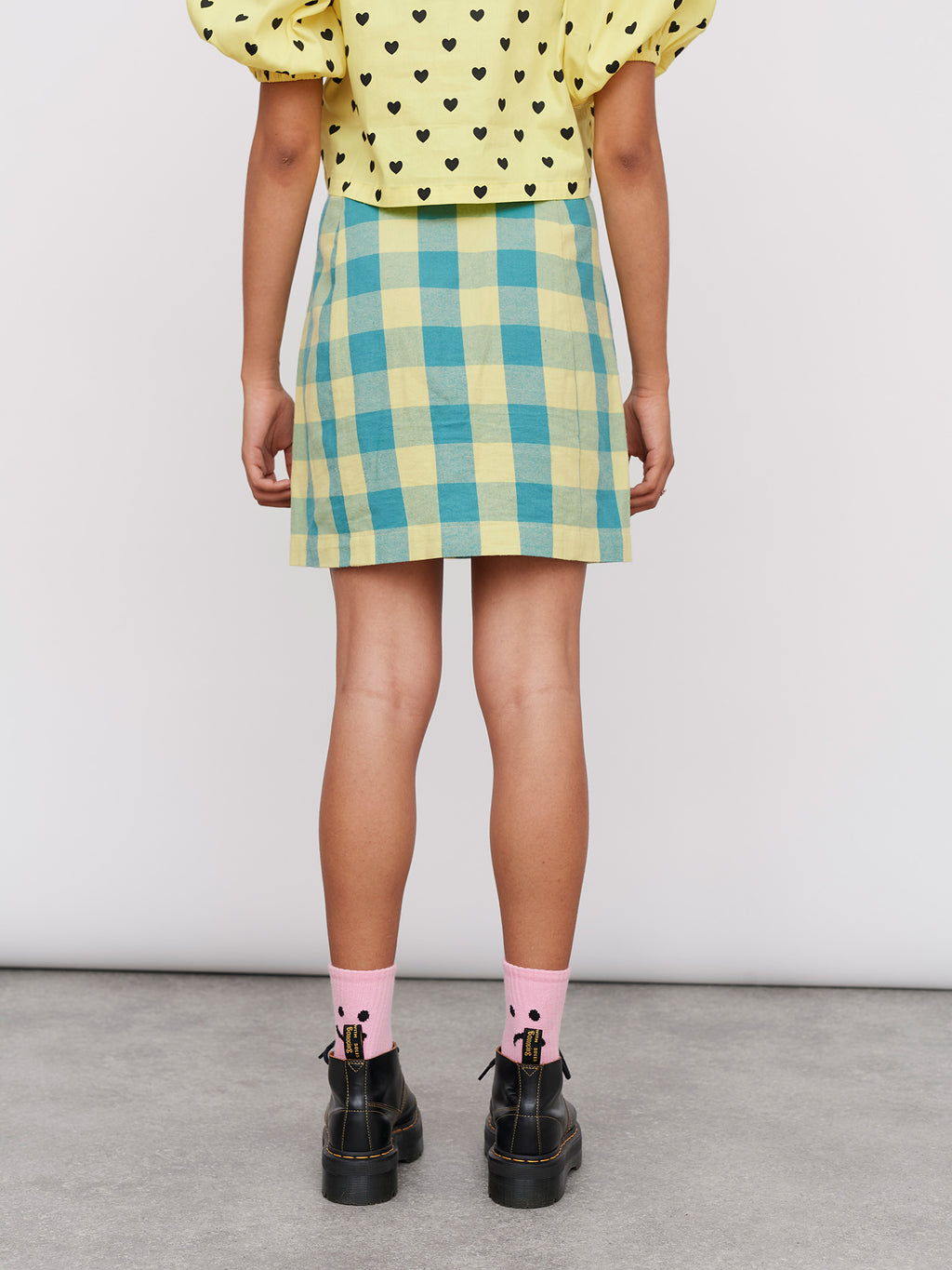 Lazy Oaf Blue and Yellow Gingham Skirt