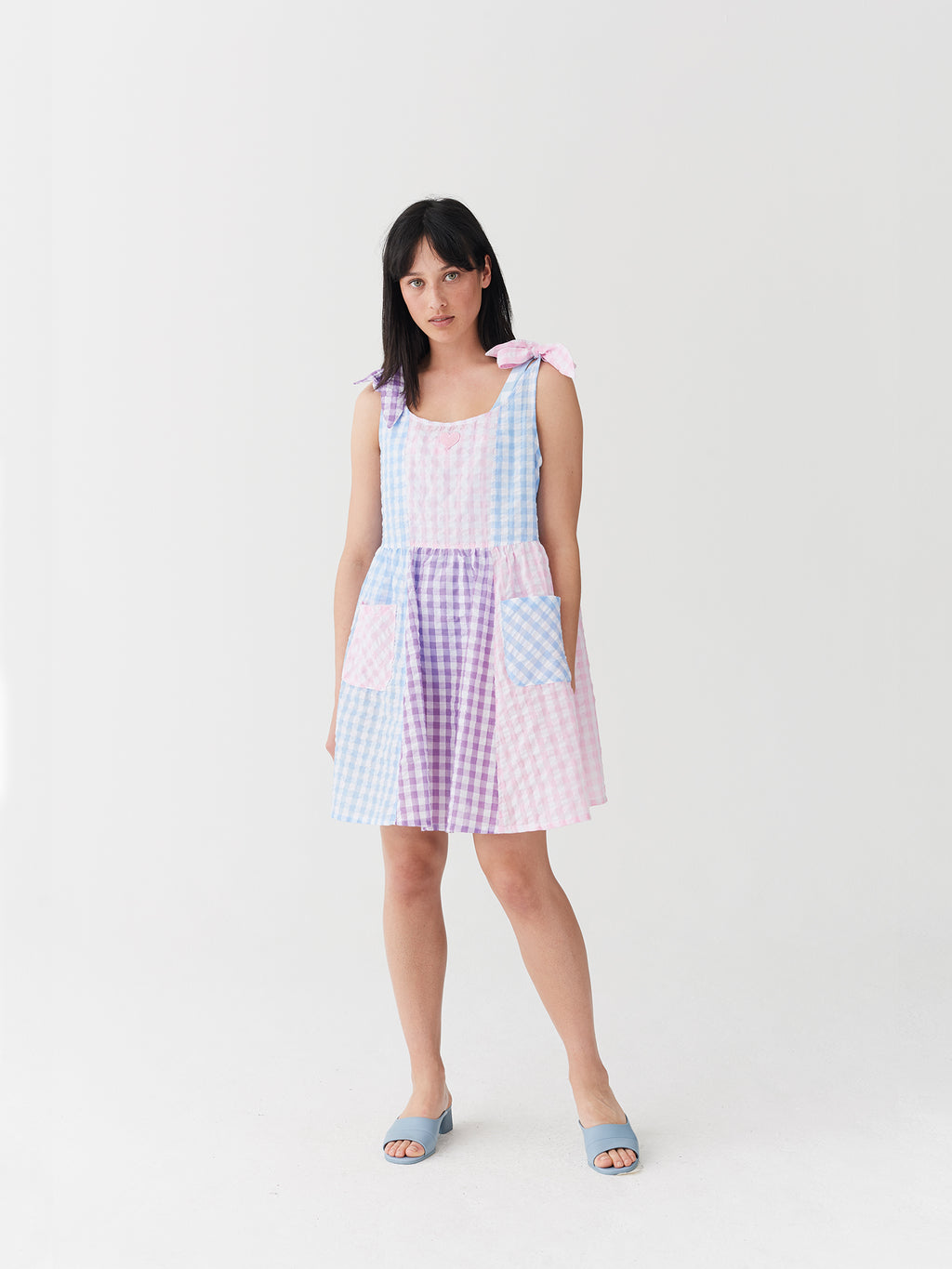 Lazy Oaf Gingham Panel Tie Dress