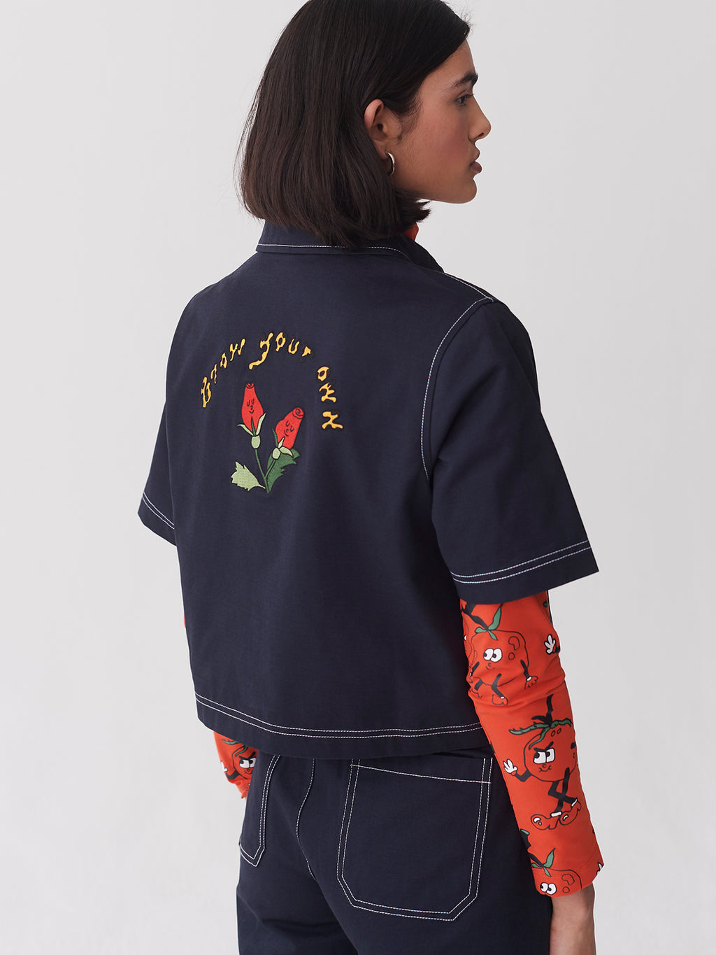 Lazy Oaf Grow Your Own Roses Zip Shirt
