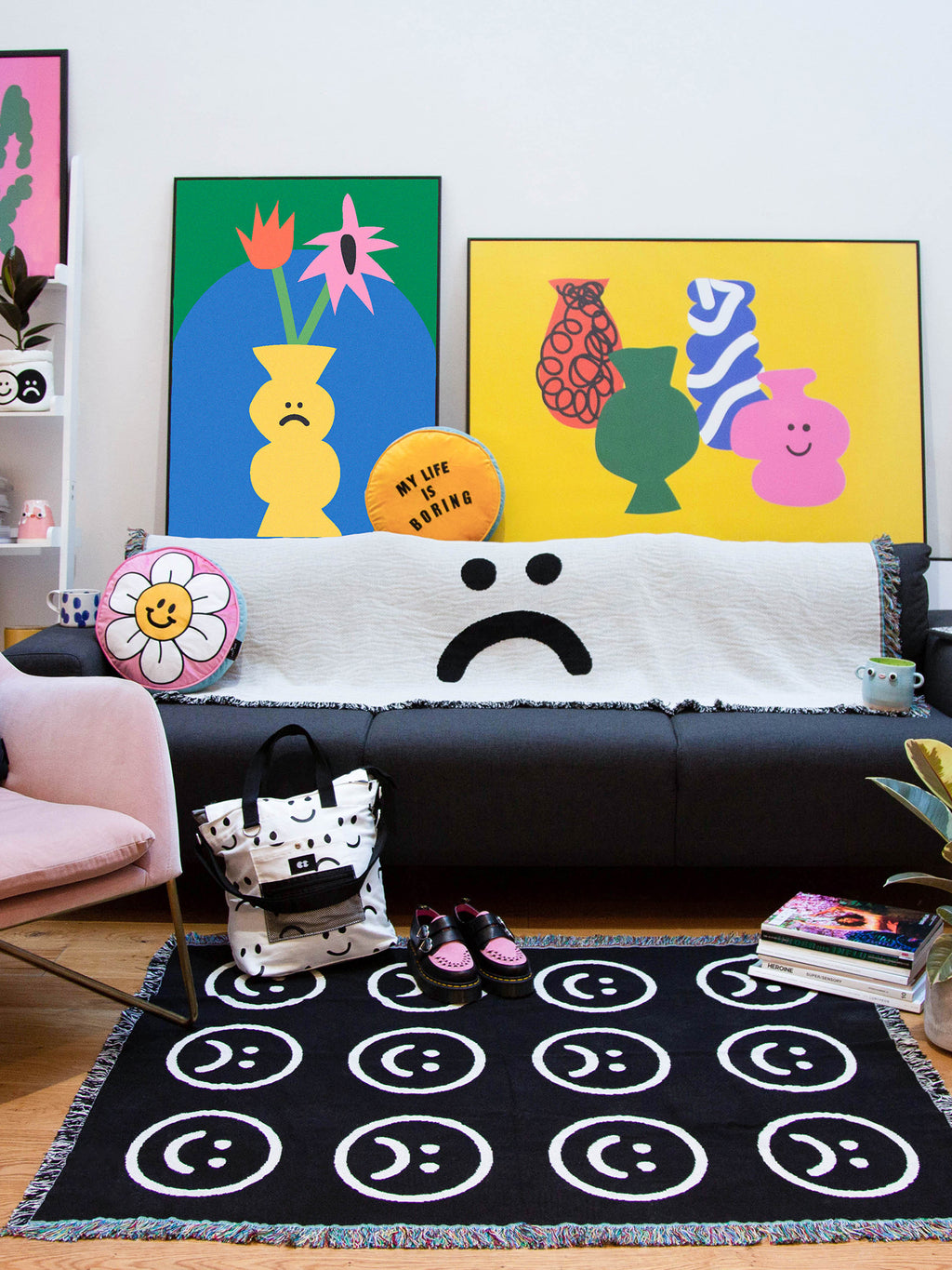Lazy Oaf Small Happy Sad Throw Blanket
